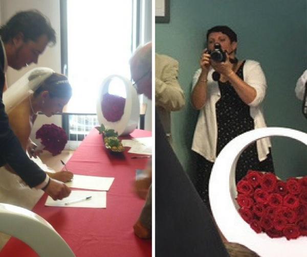 Une déco florale pour un mariage en rouge et blanc 5