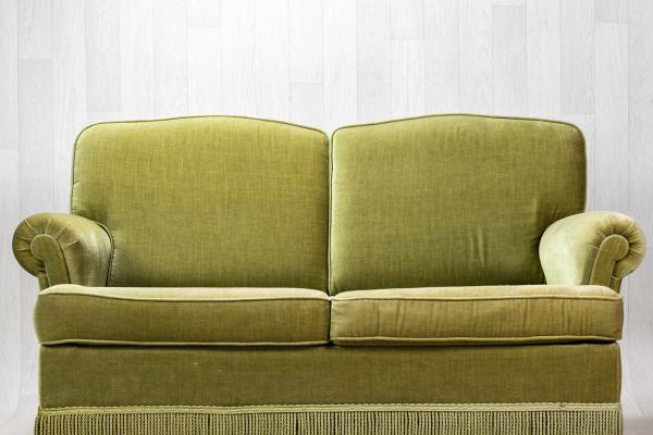 Canapé vert velours vintage