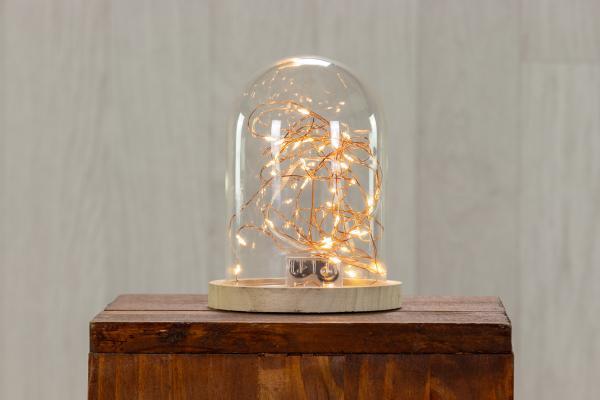 Petite cloche en verre sur support en bois 1