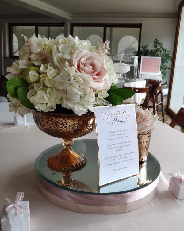 Coupes mercurées rose gold compositions florales