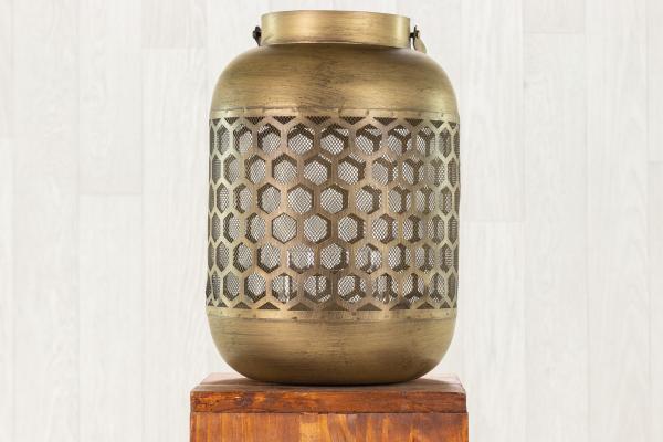 Lanterne nid d'abeille en métal or 1
