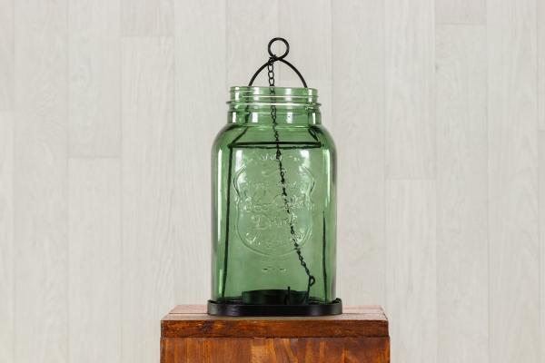 """Lanterne en verre """"vert"""" et métal à suspendre 1"""