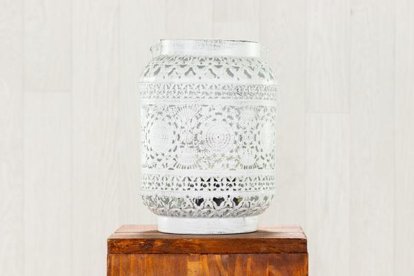 """Lanterne métal blanc style """"oriental"""" 1"""