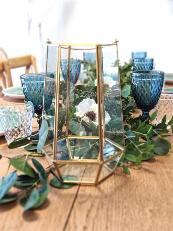 Lanterne/terrarium en verre et métal doré