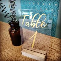 Support numéro de table en plexi - champêtre chic