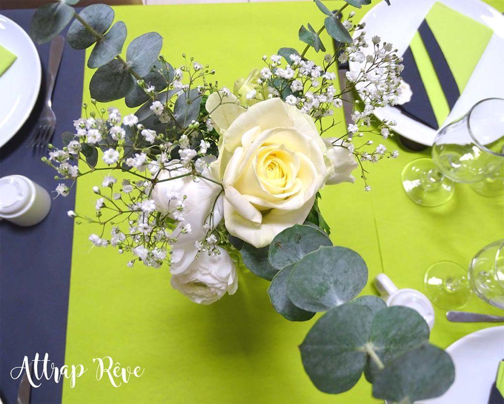 Anniversaire décoration rose blanche