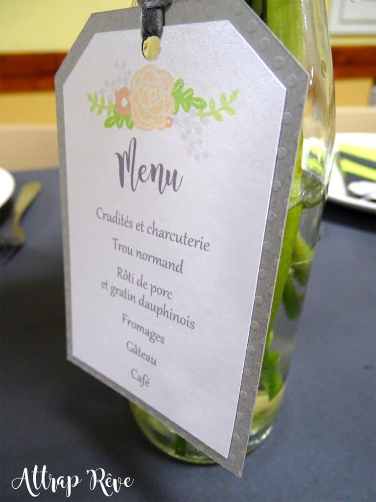 Anniversaire décoration menu