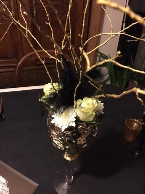 Nouvel an décoration calice or et noir